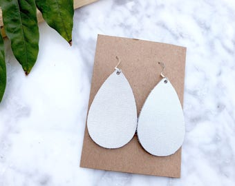 Silver Leather Teardrop Earrings, Silver Leather, Leather Earrings, Leather Jewelry, Silver Jewelry, Statement Earrings, Lightweight, silver