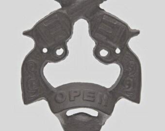 Rustic Cast-Iron Double Pistol Wall Bottle Opener
