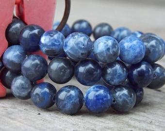 Natural Blue Sodalite beads, Round beads, 4mm 6mm 8mm 10mm 12mm 14mm 16mm Sodalite beads, Jewelry Gemstone Beads. 15.5'' full strand