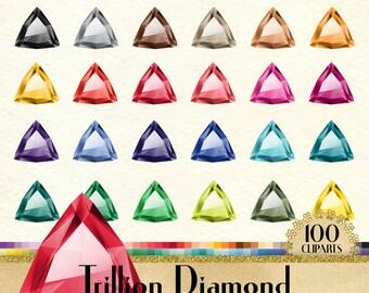 100 Trillion Diamond Clipart, Diamond Clipart, Trillion Shape Clipart, Valentine Clipart, 100 PNG Clipart, Planner Clipart,Wedding Clip Arts
