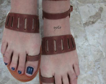 Sandals Women's,Women's Sandals,Handmade leather Sandals,Toe ring Sandals,Leather Sandals,Sandals,Chocolate Sandals,Greek Sandals,YASMINE