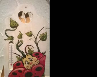 thermometer Ladybug 25 x 14 painting and decoupage technique