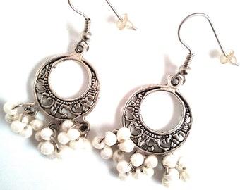 Handmade earrings with clusters