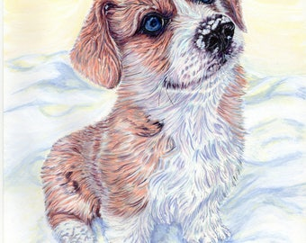Puppy's First Winter-  A4 Print of an original pen and ink illustration