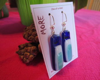 Navy Blue fused glass earrings, jade green and white