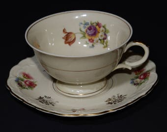 SCHWARZENHEMMER, Bavaria, Germany, Bone China, Teacup and saucer, Vintage, gold and multicolored floral decoration, squared saucer, numbered