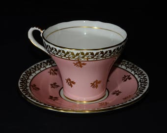 Aynsley Light Pink Corset Cup and Saucer, 880, c. 1930s, Bone China, Gold Rimmed, England, vintage, collectible, Valentines, Leaf, gold leaf