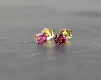 Pink Tourmaline Earrings, 4mm Tourmaline & 14k Gold Filled Stud Earrings, Valentines Day Gift for Her, October Birthstone, Gift for Wife UK