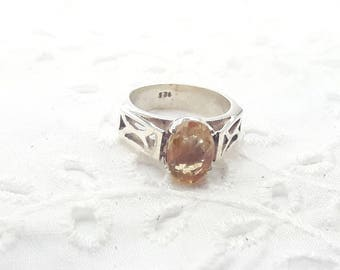 Yellow Topaz Sterling Silver Ring  /Vintage/Handmade/November Birthstone/Free Shipping US/Christmas/Valentine/Birthday/  Anniversary gift