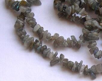 Gray LABRADORITE gemstone CHIPS beads
