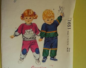 Kwik Sew 1651 toddler jogging suit pattern -size 1-2-3-4 - uncut