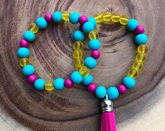 Two Piece Bracelet Set, Gift for Women, Handmade, Beaded Bracelets, Tassel Bracelet Set, Bracelets, Stretch Bracelets, Stacking Bracelets