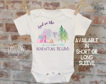 And So The Adventure Begins Onesie®, Bohemian Onesie, Cute Baby Bodysuit, Cute Onesie, Boho Baby Onesie, Girl Onesie - 173A