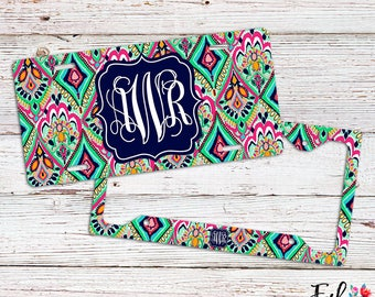 Monogrammed Lilly Inspired License Plate/Frame - Crown Jewels