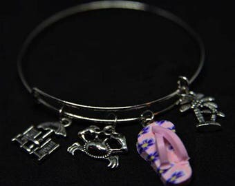 Beach Themed Expandable Bangle Charm Bracelet/Life's A Beach/Sand/Gift for Bestie/Wire