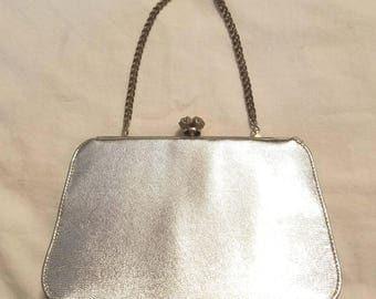 Vintage 1950's Silver Purse Clutch Evening Holiday Coin Makeup Formal Handbag