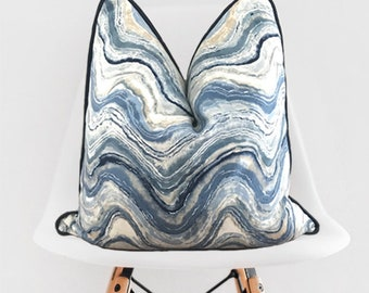 Agate Inspired Pillow Cover / Swirl Agate Pillow / Blue Tan White Decorative Throw Pillow / Blue and Antelope Pillow Cover / Antelope Piping