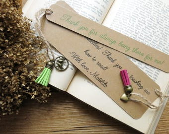 Custom Quote Bookmark // Book Accessories with Bronze Charm // Kraft Paper Bookmark  // Laminated Bookmark with Tassel