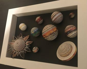"3D Recycled Solar System- Quilling Wall Art -  1/8"" (3mm) recycled magazines paper strips."