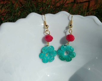 Flower Patina Dangle Earrings