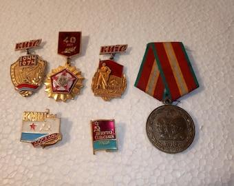 badges ukraine  gift for him Enamel pin set Soviet badge gift idea mens gift for boy soviet Vintage badges  rare pins retro badges of kiev,