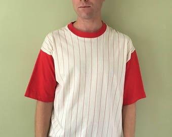 Vintage Red Striped Baseball Tee