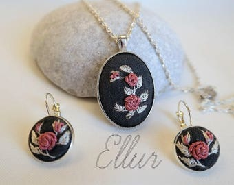 Embroidery jewelry Embroidered set earring Floral Eco pendant Flower wife jewelry Fabric necklace Nature lover gift Ukrainian jewelr Unusual