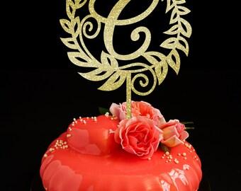Cake topper Letter C, Monogram Cake Topper, Wedding Cake Topper, Unique Cake Topper, Initials Cake Topper Single Letter, Personalised Topper