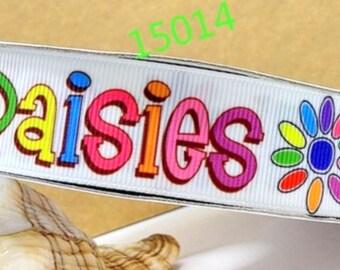 """7/8"""" 3/5/10/25 yds DAISIES Printed Grosgrain ribbon Hair Bow Ribbon, adorable, vibrant ribbon!"""