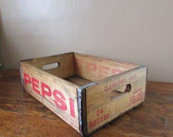 Antique Wood Crate - Old Wooden Crate- Antique Pepsi Crate - Vintage Pepsi Pop Crate