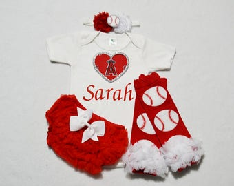 anaheim angels baby girl outfit - baby girl anaheim angels outfit - girls anaheim angels baseball outfit - anaheim angels baby girl gift