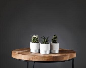 Mini pots de fleur en béton trio CARNAC / Concrete planter / Artisanat Bretagne / Jardinière gris métallique / Cadeau