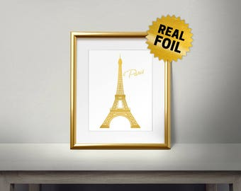 Paris Eiffel Tower, Real Gold Foil Printing, France Famous Tower, Home Decor, Eiffel Tower Wall Decor, Gold Eiffel Tower, France Tower Print