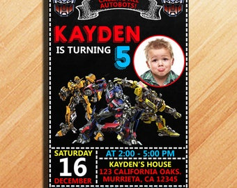 Transformers Birthday Invitation, Transformers Invitation, Transformers Birthday Party, Transformers Party Invitation, Transformers Birthday