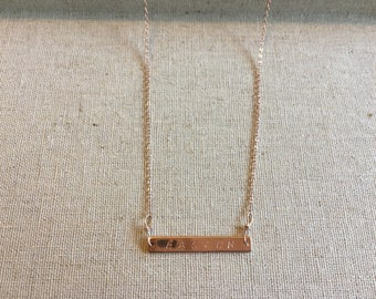 Personalized Rose Gold plated Name Bar necklace