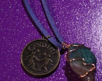 Chrysocolla Tumblestone Gemini Zodiac Charm Faux Suede Handmade Copper Wrapped Slip Knot Vegan Necklace