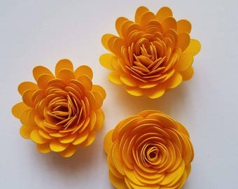 Set of 12 Yellow Rolled Paper Flowers, Small Paper Flowers, Quilled Paper Flowers, Shadow Box Flowers, Bridal Flowers