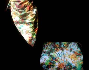 Unique Hand Tie-Dyed Rainbow Crumple Long Beach Sarong
