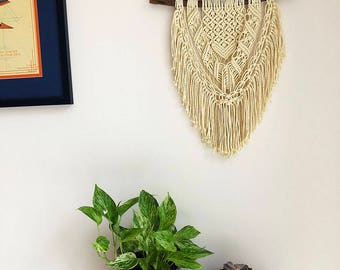 Macrame Wall Hanging on a Foraged Branch, Woven Wall Hanging, Boho Hippie Tapestry, Bohemian Decor, Statement Piece