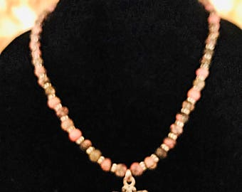 Rhodndonite, agate and sterling silver necklace