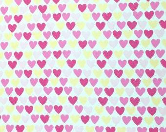Heart Flannel Fabric,Snuggle Flannel Prints, Pink Yellow Hearts, Fabric by the Yard, Quilting Fabric, Apparel Fabric, Blanket Fabric
