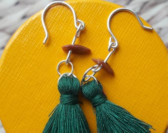 Teal tassel earrings with gold sandstone chip. Dangle drop earrings. Tassel fashion. Silver plated copper. Perfect stocking filler.