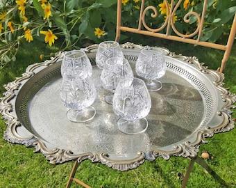 Vintage Crystal glasses of cognac / Cognac swivel 10 cl (set - 6 pieces)