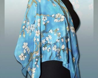 Silk Shawl Vincent van Gogh Blossoming Almond Tree, Crepe de Chine Silk, Handmade silk scarf, Scarves for women, Handpainted scarf