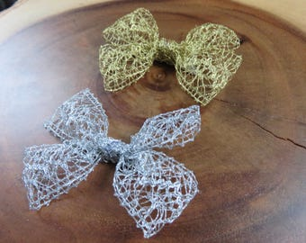 Lace Pinwheel Hair Bow Gold or Silver
