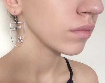 Handmade • Abstract Face Earrings• Silver plated wire  Perfect for jazzing up any outfit!