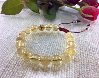 Golden Rutilated Quartz Bracelet, Mala Bracelet,  yoga bracelet, healing bracelet, calming bracelet, gemstone bracelet