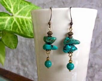 Turquoise Earring, Drop Earring, Turquoise Jewelry, Bohemian Earring, Boho Dangle Earring, December Birthstone.