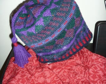 Fair Isle hat, hand knitted, wool ,  seven colours