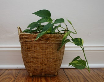 A Wicker Basket with Handles
